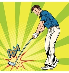 Golf player has a stick in the ball vector image