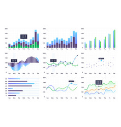 graphs and charts set vector image