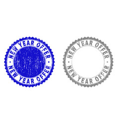 grunge new year offer scratched stamp seals vector image