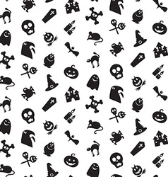 Halloween icons seamless pattern vector image