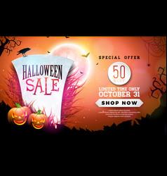 halloween sale banner with tombstone vector image