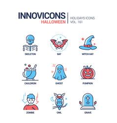 halloween symbols - modern line design style icons vector image