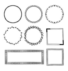 Hand drawn ornamental frame collection vector
