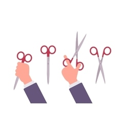 Hand holds scissors vector image