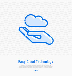 Hand with cloud concept of easy cloud technology vector
