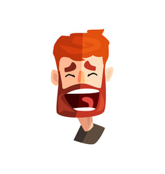 Happy laughing redhead bearded man male emotional vector