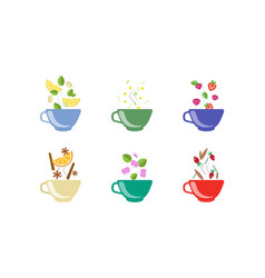 herbal tea cups set lemon chamomile strawberry vector image