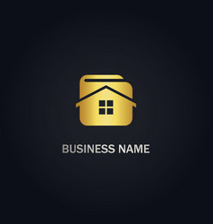 home realty wallet gold logo vector image