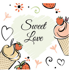 Ice cream with strawberry banner black white vector