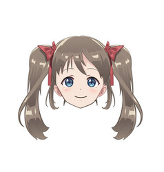 Isolated head of an anime character girl vector