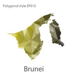 Isolated icon brunei map polygonal geometric vector