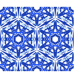 Kaleidoscopic pattern blue star flower vector