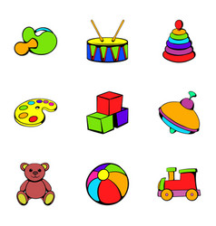 Kindergarten icons set cartoon style vector