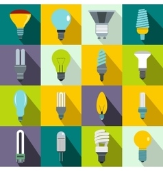 Light bulb icons set flat style vector image