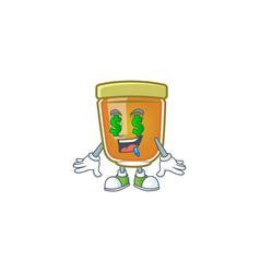 Liquid honey cartoon character with mascot money vector