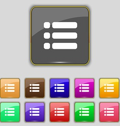 List menu content view options icon sign set with vector
