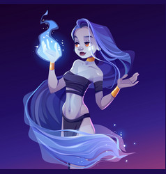 magic woman nymph looking on wizard fire on hand vector image