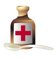 Medicine and a spoon vector