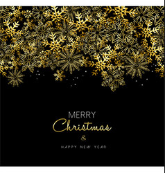 Merry Christmas and New Year gold snowflake design vector image