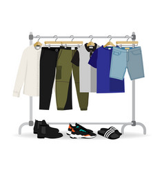 metal rack with casual men clothes and footwear vector image