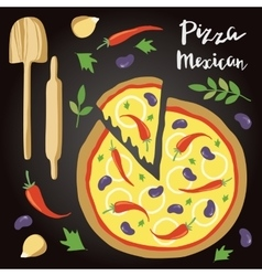 Mexican Pizza with vector image