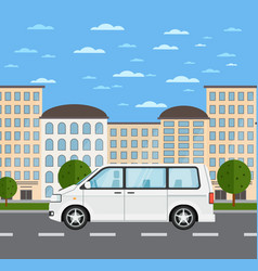 Modern family minivan in urban landscape vector
