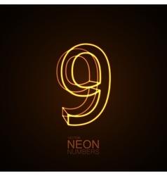 Neon 3D number 9 vector