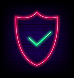 Neon security shield with check mark safety vector