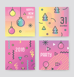 new year 2018 greeting cards abstract memphis vector image