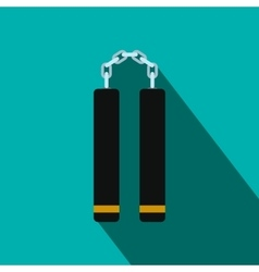 Nunchaku weapon flat icon vector image