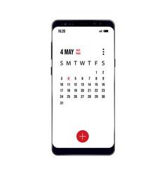 Older model smartphone with example calendar vector