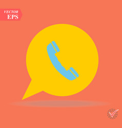 phone icon in trendy flat style isolated on orange vector image