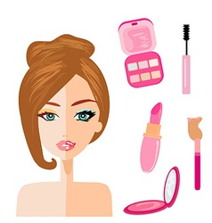 portrait of woman half natural half with make up vector image