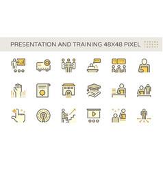 Presentation and training icon set design 48x48 vector