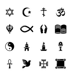 religion icons set simple style vector image