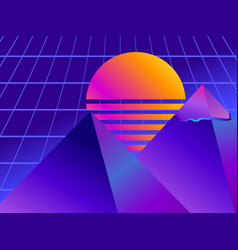 Retro futurism pyramid perspective grid neon vector
