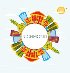 Richmond skyline with color buildings blue sky vector