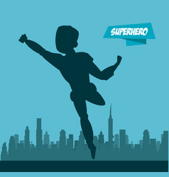 robotic superhero cartoon on city silhouette vector image