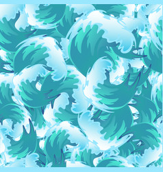 Sea blue water wave seamless pattern ocean border vector