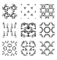 seamless abstract patterns set of monochrome vector image