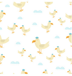 seamless pattern with cute seagull vector image