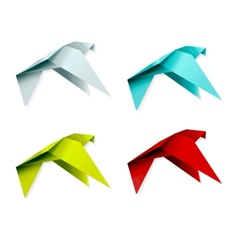 Set of colorful origami bird EPS 10 vector image
