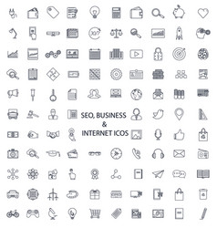 Set of lines of icons seo business media vector