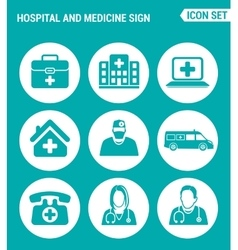 set of round icons white Hospital rescue vector image