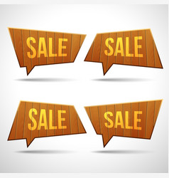 set of wooden sign speech bubbles vector image