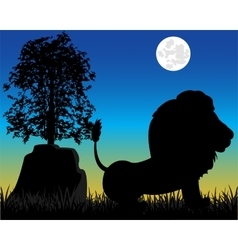 Silhouette lion on nature vector