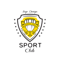 sport club logo design heraldic shield with vector image