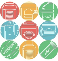 Sport supplements flat color icons vector image