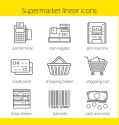 Supermarket shopping linear icons set vector