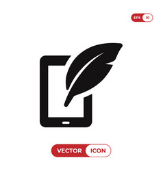 tablet icon with feather sign vector image